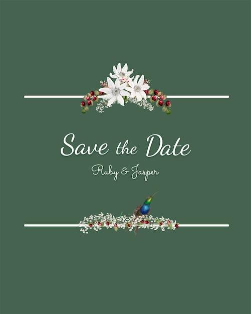 Salve o vetor de maquete de convite de casamento de data Vetor grátis
