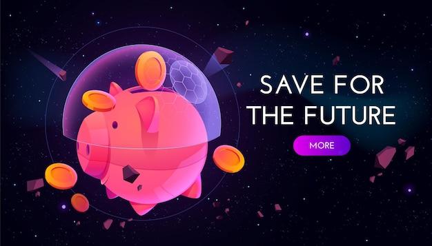 Salve para banner futuro. conceito de estratégia financeira e poupança de aposentadoria de proteção. Vetor grátis