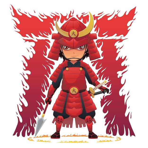 Samurai De Armadura Vermelha Vetor Premium