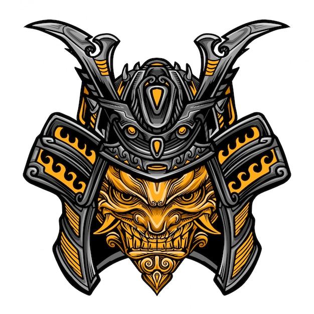 Samurai evil mask vector Vetor Premium