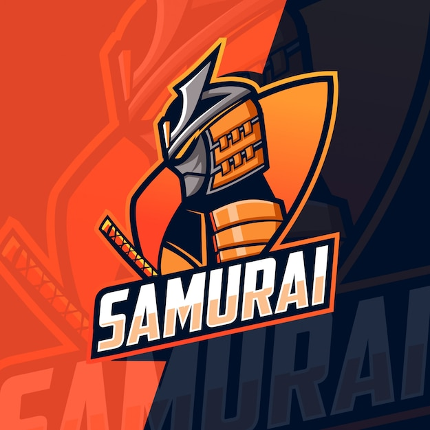 Samurai mascot esport logo Vetor Premium