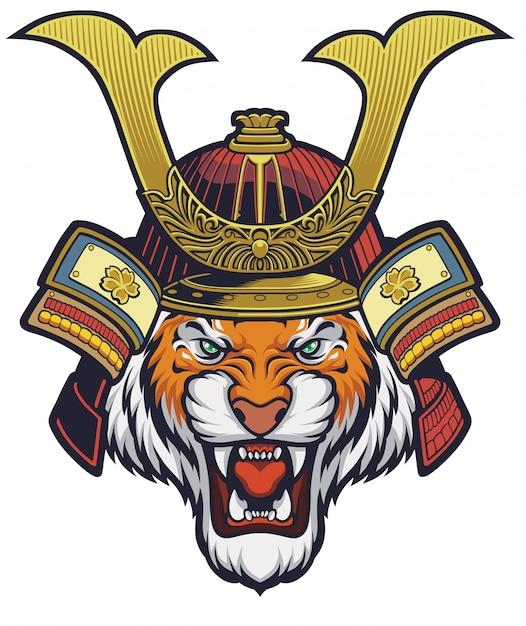 Samurai tiger, o capacete é removível Vetor Premium