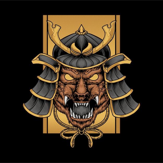 Samurai tiger Vetor Premium