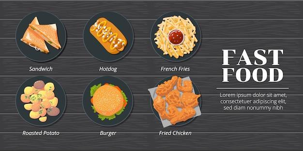 Sanduíche, cachorro-quente, batata frita, batata assada, hambúrguer, frango frito fast-food conjunto de coleta Vetor Premium