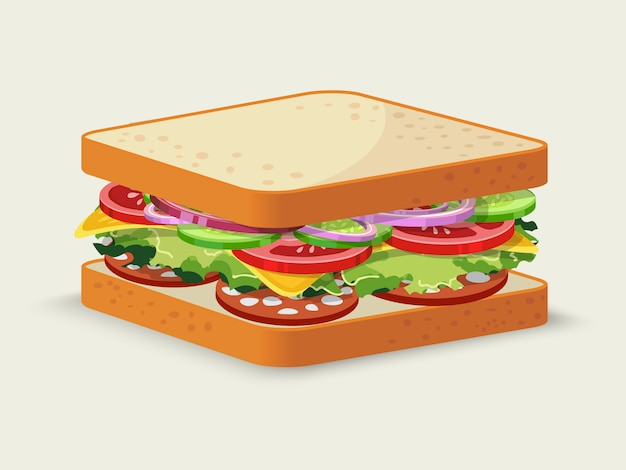 Sanduíche de salame Vetor grátis