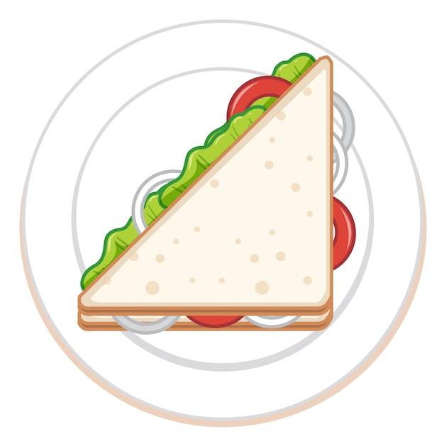 Sanduíche isolado no branco ao meio Vetor grátis