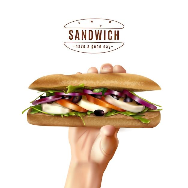 Sanduíche saudável na mão imagem realista Vetor grátis