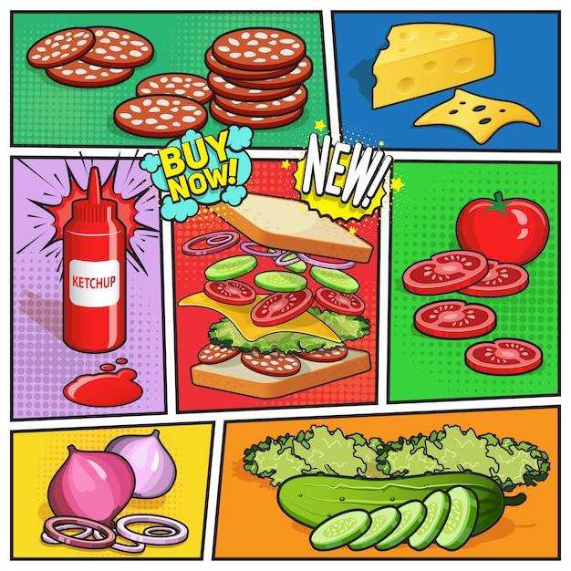 Sandwich advertising comic page Vetor grátis
