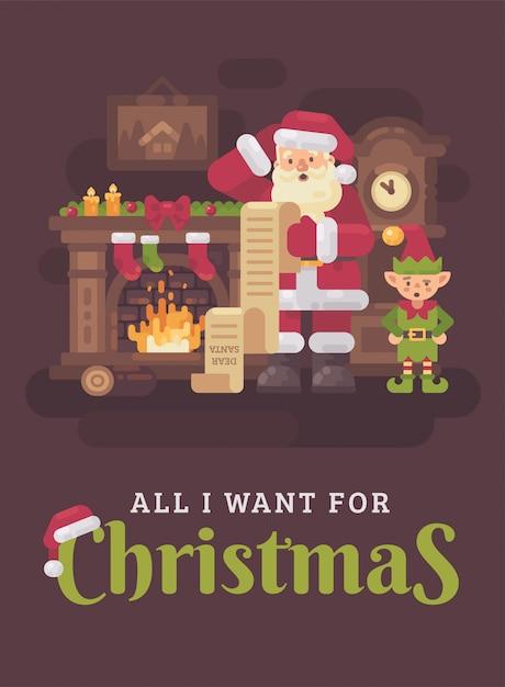Santa claus confusa e duende que lêem uma letra longa dos miúdos. ilustração plana de natal cumprimentar Vetor Premium
