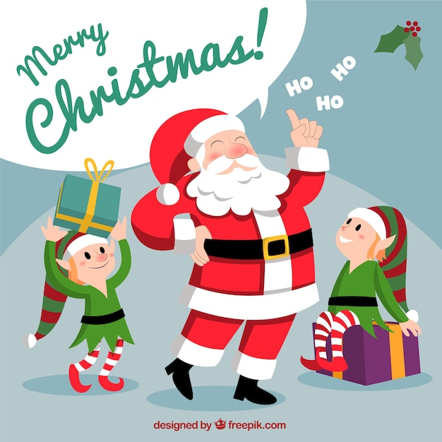 Santa Com Elfos De Natal Vetor Premium
