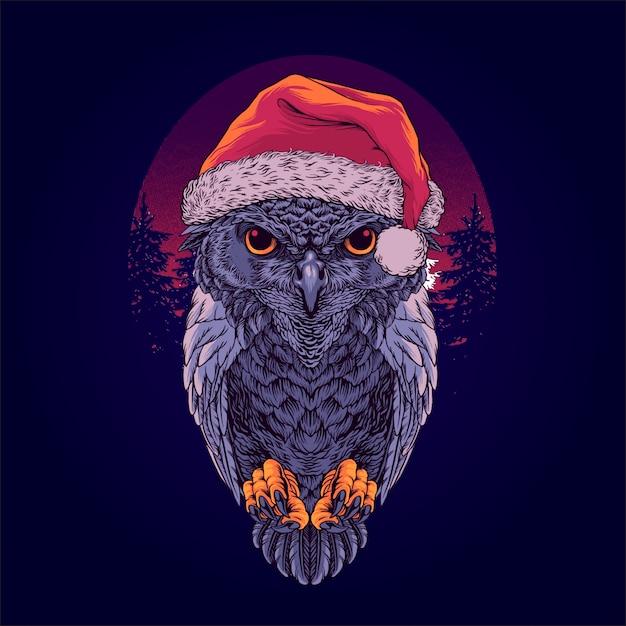 Santa coruja Vetor Premium