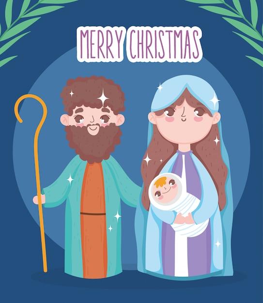 Santa maria josé e bebê jesus manjedoura natividade, feliz natal Vetor Premium