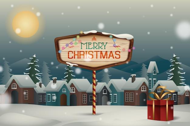 Santa noite de natal com neve sob o fundo do luar Vetor Premium