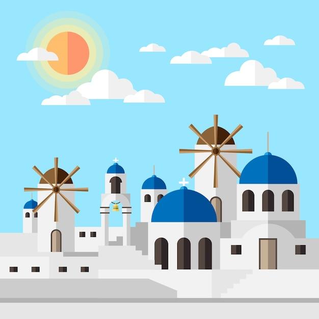 Santorini ensolarada com edifícios Vetor Premium