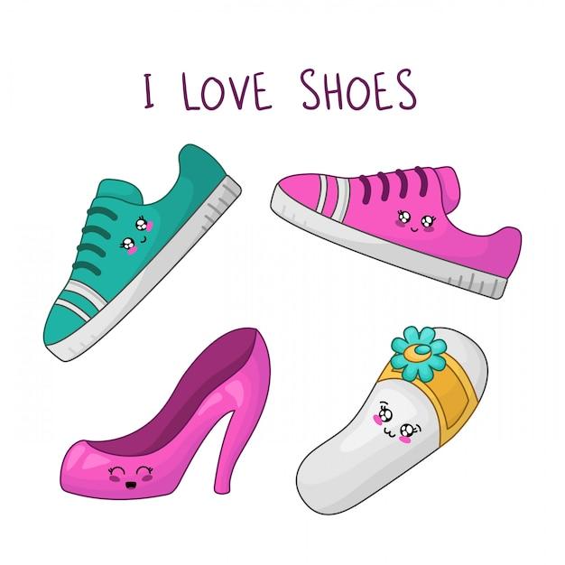 Sapatos de meninas kawaii. eu amo sapatos Vetor Premium
