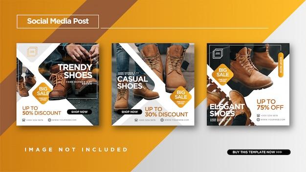 Sapatos de promoção instagram post ou banner Vetor Premium