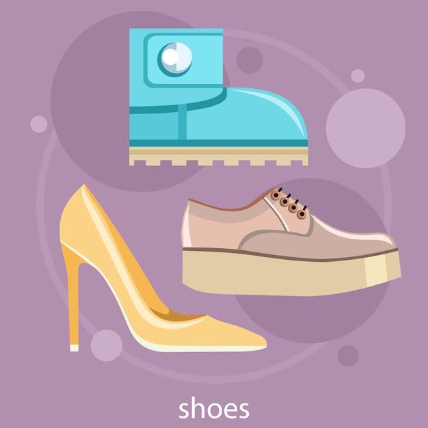 Sapatos diferentes. conjunto de sapato de mulheres clássicas de sapatos de salto alto, botas, sapatos baixos e tênis Vetor Premium