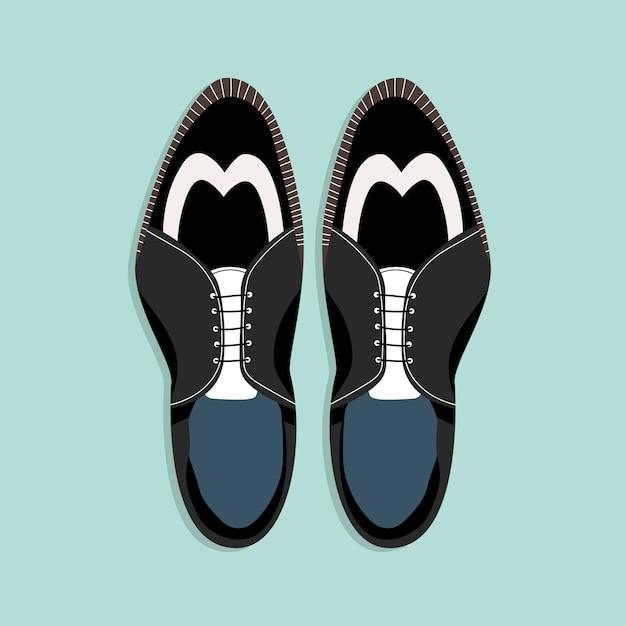 Sapatos masculinos com atacadores. vista de cima para baixo. ilustração preto e branco clássica das sapatas dos homens. clipart desenhado à mão para web e impressão. na moda - ilustração do estilo de um par de sapatos de homens. Vetor Premium
