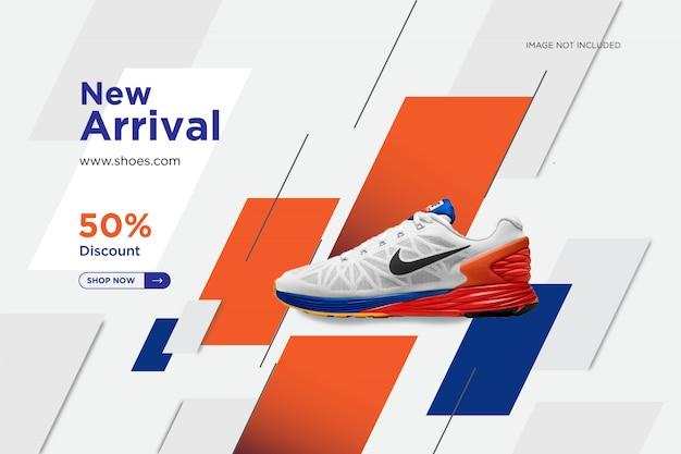 Sapatos nova chegada social pós modelo de banner de design Vetor Premium