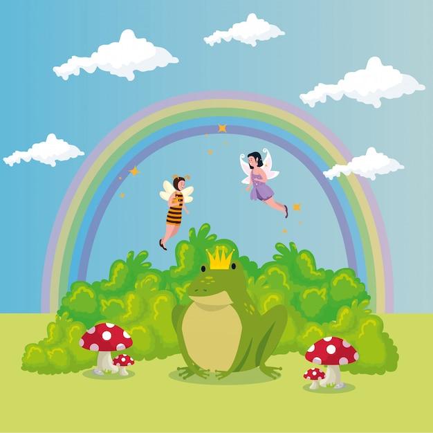 Sapo bonito com arco-íris no conto de fadas de cena Vetor grátis