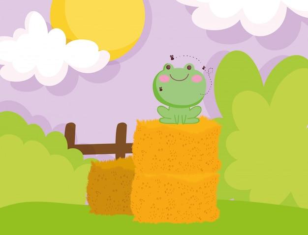Sapo com moscas em feno pilha cerca arbustos animais dos desenhos animados ilustração Vetor Premium