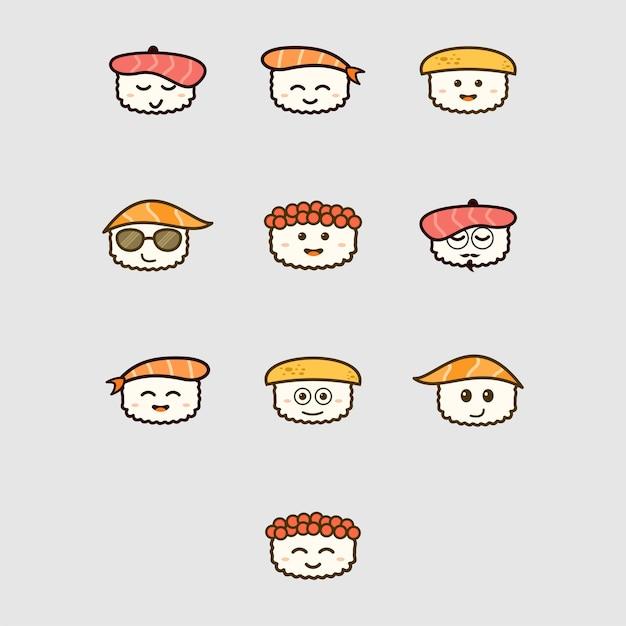 Sashimi enfrenta conjunto de ícones de emoji Vetor Premium
