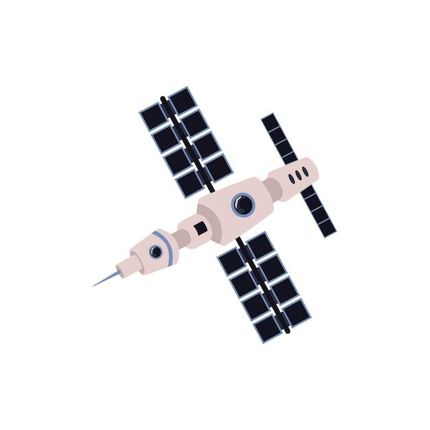 Satélite espaço de comunicação com ilustração em vetor plana ícone painéis solares isolada no fundo branco. instalações ou equipamentos de tecnologia de comunicação da internet. Vetor Premium