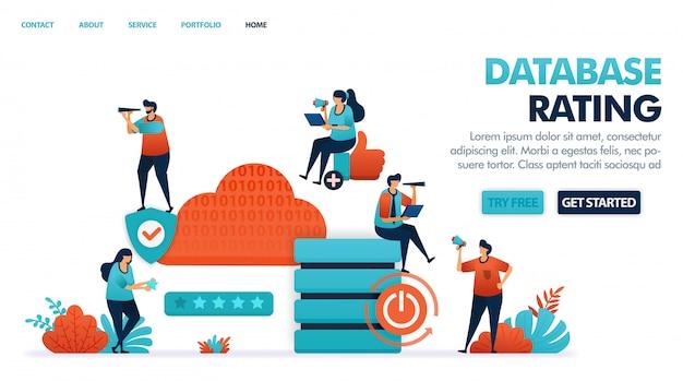 Satisfação no serviço de hospedagem, nuvem, domínio e aluguel de banco de dados. Vetor Premium