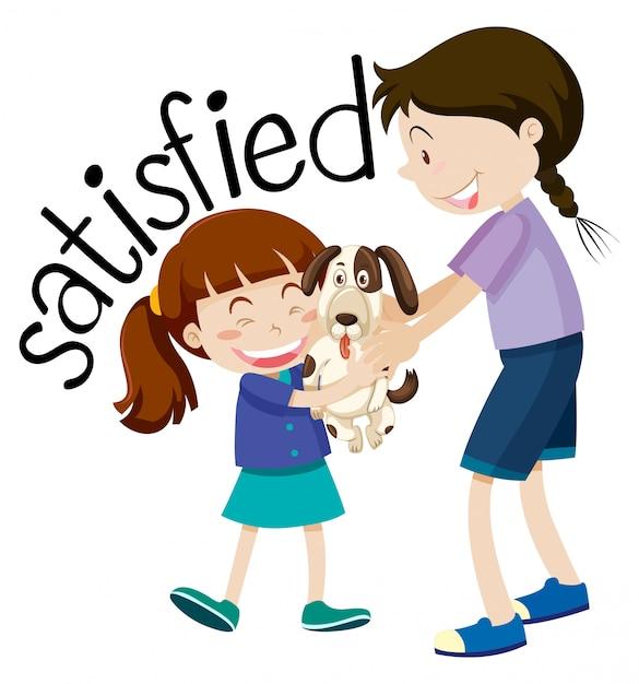 Satisfeito jovem garota segurando o cachorrinho Vetor grátis
