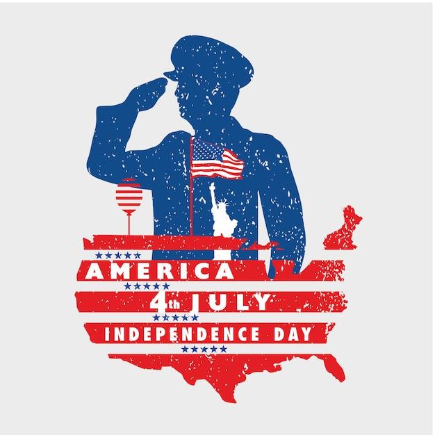 Saudação à liberdade da américa em 4 de julho com a bandeira do grunge Vetor Premium