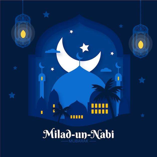 Saudação à lua de mawlid milad-un-nabi Vetor grátis