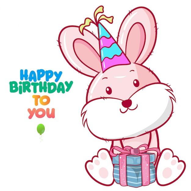 Saudação cartão de aniversário com coelho fofo Vetor Premium