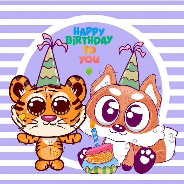Saudação cartão de aniversário com fofo tigre e raposa - ilustração Vetor Premium