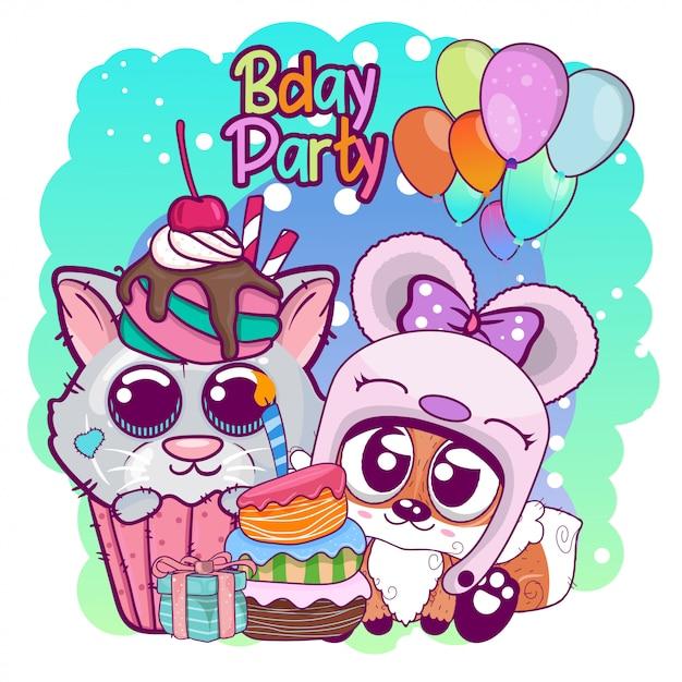 Saudação cartão de aniversário com gatinho fofo e fox Vetor Premium