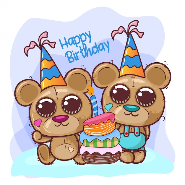 Saudação cartão de aniversário com urso fofo - ilustração Vetor Premium