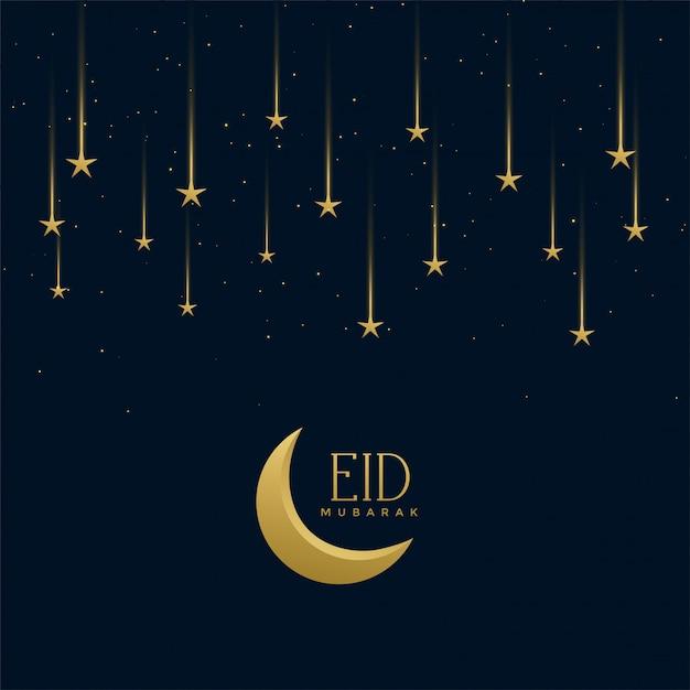 Saudação de feriado de eid mubarak com estrelas cadentes Vetor grátis