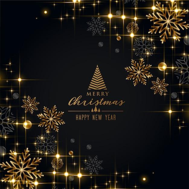 Saudação de festival de natal preto com flocos de neve dourados Vetor grátis