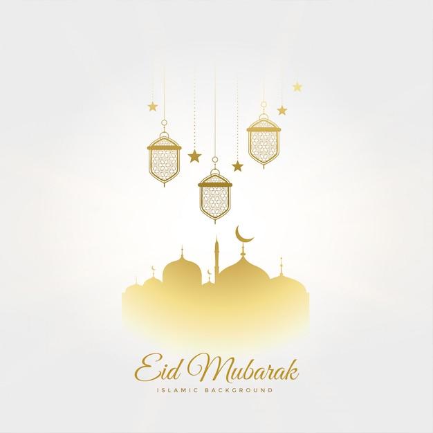 Saudação de festival elegante eid mubarak com lâmpadas e mesquita Vetor grátis
