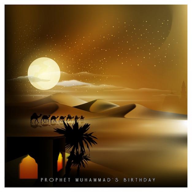 Saudação de mawlid al nabi islâmica com viajante árabe em camelo no meio da noite Vetor Premium