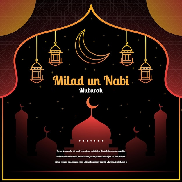 Saudação de mawlid milad-un-nabi com mesquita e lanternas Vetor grátis