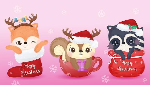 Saudação de natal com animais adoráveis em aquarela. ilustração de natal. Vetor Premium