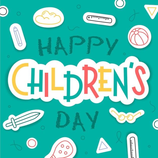 Saudação do dia mundial da criança desenhada à mão Vetor grátis