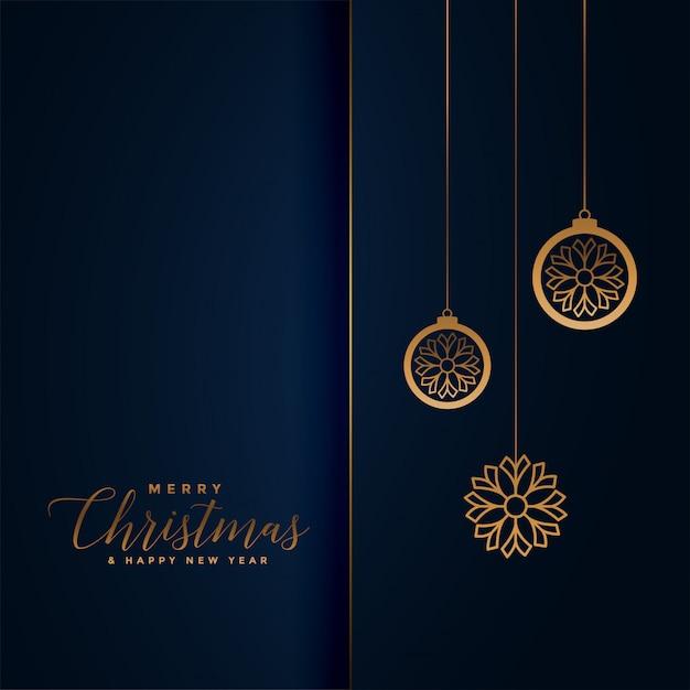 Saudação do festival de natal premium em azul royal e dourado Vetor grátis