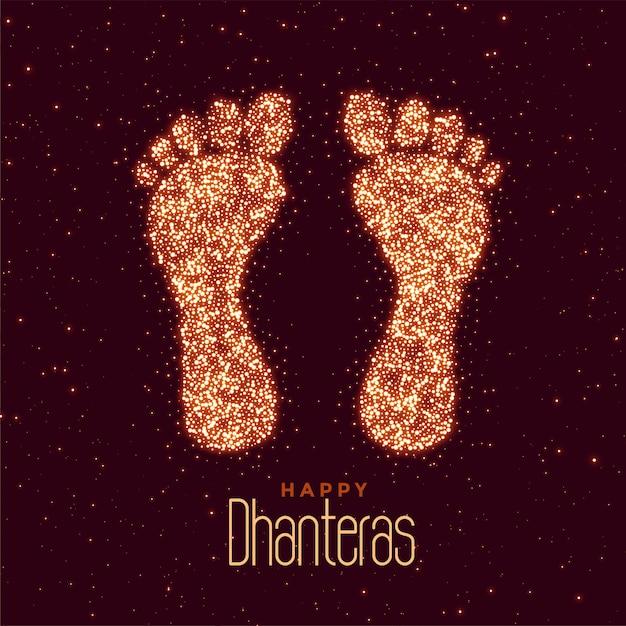 Saudação feliz festival de dhanteras com pés impressão Vetor grátis