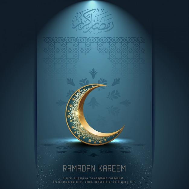 Saudação islâmica ramadan kareem design de cartão com crescente ornamento e caligrafia árabe Vetor Premium