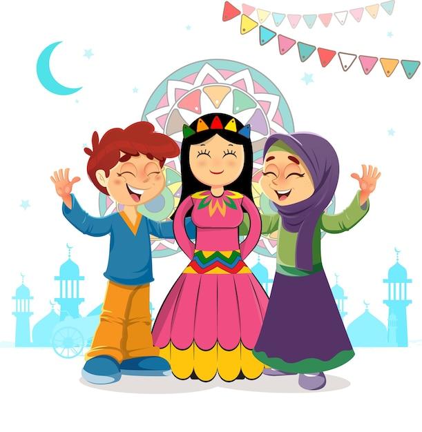 Saudação islâmica tradicional de comemoração de duas crianças e noiva mawlid, feriado do profeta muhammad bithday Vetor Premium