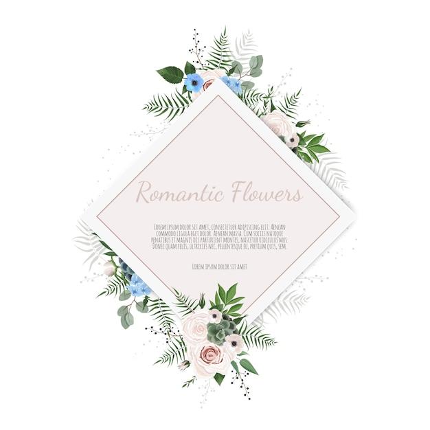 Saudação, modelo de convite de casamento de cartão postal. moldura elegante com rosa e anêmona Vetor Premium