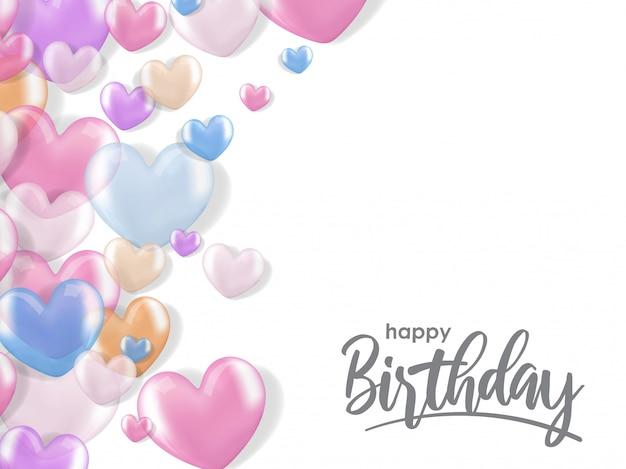 Saudações de aniversário com balão de coração realista 3d Vetor Premium