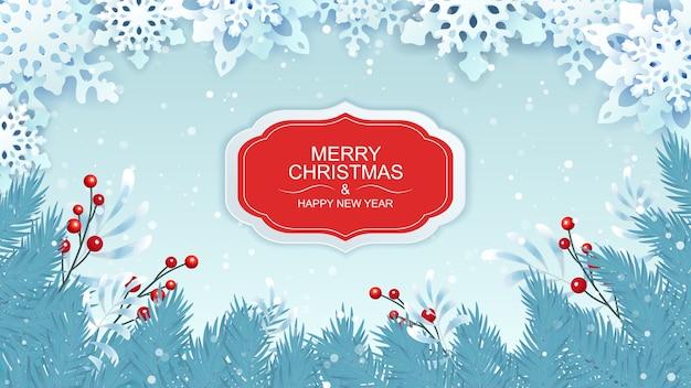 Saudações de natal e ano novo com flocos de neve e ramos de abeto. Vetor Premium