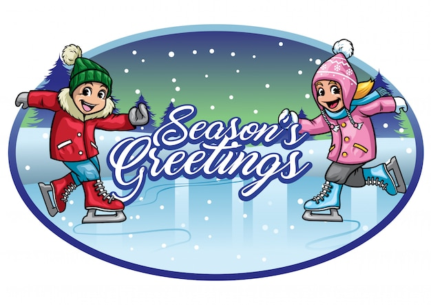 Saudações de temporadas de patinação no gelo de crianças Vetor Premium